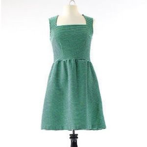 Merona navy and green striped fit n flare dress